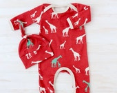 Organic Baby Take Home Outfit - Boy Going Home Outfit - Giraffe Baby Romper - Baby Boy Going Home Set - Organic Baby Romper and Hat Set