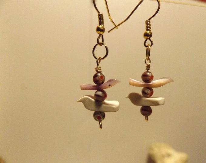 Carved Bird, Trade Bead Earring, Native American inspired, Tribal Earrings, Healing Crystal and Gemstone Jewelry