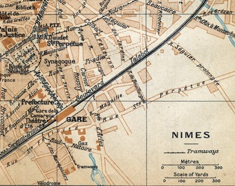 Vintage Map of Nimes, France - 1926 Antique City Map - Old City Map