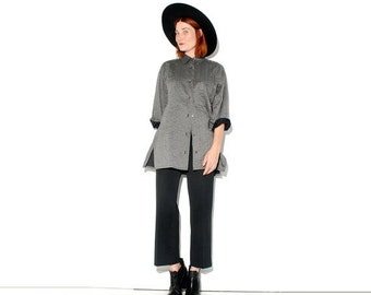 WTF HALF OFF vintage Issey Miyake blouse // ultra rare collectible designer blouse, charcoal grey, minimalist menswear look