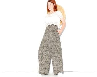 cutest PALAZZO PANTS medium large // high waisted pants wide leg pants boho pants gypsy pants damask floral pants navy blue creme