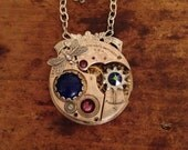 Steampunk Pocket Watch Necklace in Lapis and Amythest