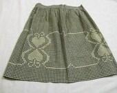 Vintage Apron, Black and White Apron, Half Apron, Chicken Scratch Embroidery, Gingham Apron, Black Gingham Apron