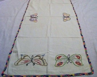 Vintage table runner, table runner with embroidered butterflies. White table runner with colorful butterflies, vintage home decor