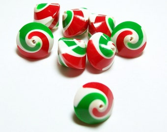 Christmas Beads - Handmade Polymer Clay Bicones  - Red, Green and White