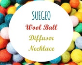SUEGEO Wool Ball Wire Cage Diffuser Necklace