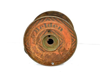 Industrial Decor - Metal Belden Wire Spool - Thermal Wire - Advertising Collectible
