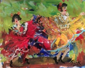 Santa Fe Dancers, New Mexico Art, Southwest Impressionist Art, Yellow red green festive dance with dancers, abstract  painting, Russ Potak