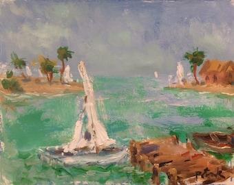 Ocean seascape painting original acrylic art, sailboat blue sea palm trees on beach with dock and lagoon, Russ Potak