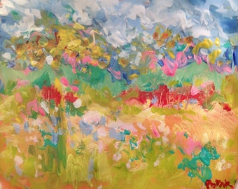 Meadows, Original Impressionist acrylic painting, summer breezes, bold expressive colors, Russ Potak