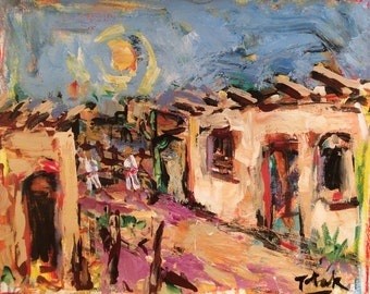 Southwest Art New Mexico, Santa Fe painting, adobe dwelling original acrylic impressionist painting, Russ Potak Artist