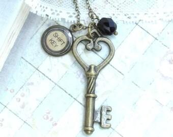 Writer Necklace Typewriter Key Necklace Victorian Necklace Writer Gift Key Necklace Shift Key Typewriter Jewelry