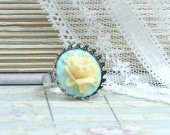 Rose Cameo Ring Yellow Rose Ring Victorian Ring Yellow Flower Ring Adjustable Ring Cameo Ring