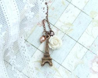 Eiffel Tower Charm Necklace Cream Rose Necklace Vintage Style Necklace Paris Necklace French Necklace
