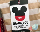 Mickey Mouse Thank You Tags, Disney Party Favor Tags