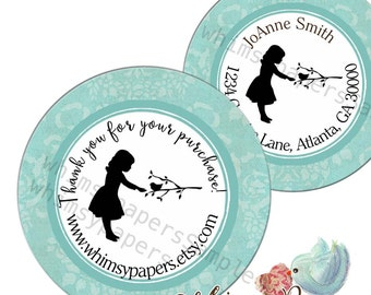 Personalized Silhouette Bird On a Branch Boutique Thank You Stickers, Address Labels