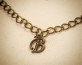 Personalized Initial Brass Charm Necklace