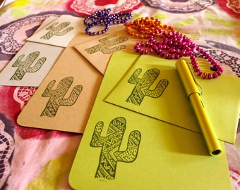 cactus stationery letter set for writing your prickly pen pal. choose your color - green, gray, kraft brown.