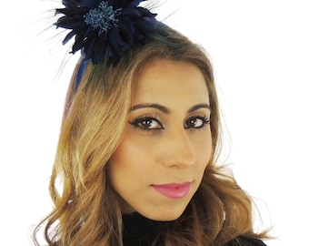 Navy Ascot Flower Fascinator  Hat for Weddings, Occasions and Parties