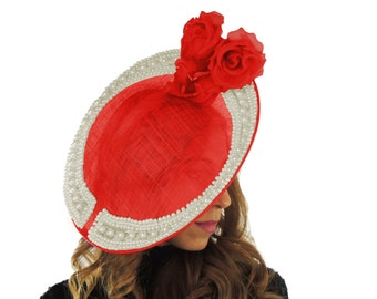 Red Fares Fascinator Hat for Kentucky Derby,Melbourne Cup, Ascot