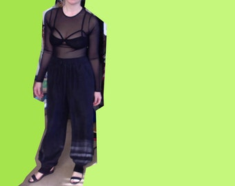 black loose silk pants medium