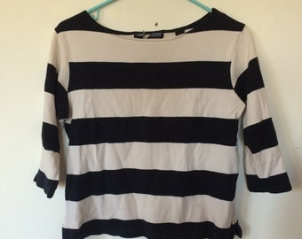 Black Beige Wide Sailor Stripe Cotton Tee Shirt