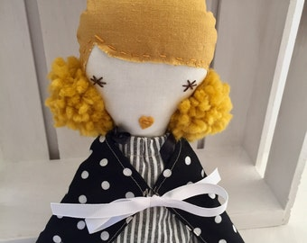 Beautiful cloth doll, blond hair fabric doll, pom poms. Handmade fabric doll, white stripped dress, blond cloth doll, soft toys