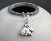 """tiny silver rabbit necklace. small sterling bunny pet pride pendant. hare love realistic charm gift animal lover gift simple jewelry 3/8"""""""