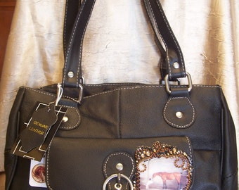 Black Leather Purse with Vintage Bay Horse, Dog and Swriling Crystals