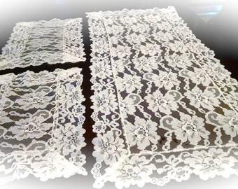 Vintage large Dresser Scarf Set of 3 Crocheted Linens Retro Vintage Linens   #3