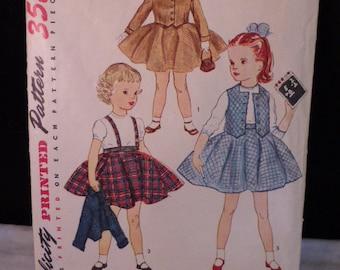 Sweet Vintage Child Toddler Sz 1 Girl Skirt Jacket Weskit Simplicity 3992 1952