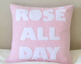 "NEW! Throw pillow, decorative pillow, ""Rose All Day"" 16 inch throw pillow NEW!"