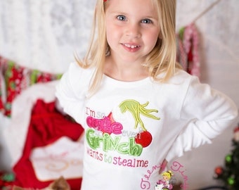 Christmas shirt ~ Grinch ~ Too Cute ~ Even the Grinch wants to steal me ~ Cindy Lou Who ~ Santa ~ Christmas Pictures ~Night Before Christmas