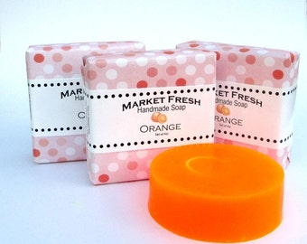 Orange Soap, Market Fresh, handmade glycerin soap, fruit fragranced.
