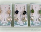 Wire-Wrapped, Gem Stone, Nautical Dangle Earrings