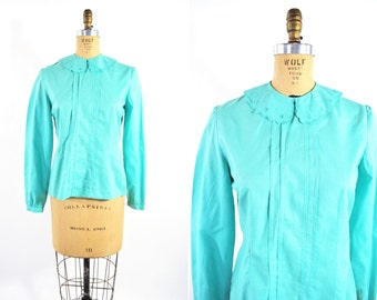 1980s blouse vintage 80s aqua mod peter pan collar cotton long sleeve top S