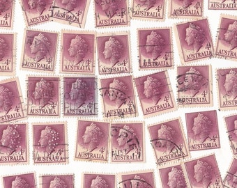50 x The Queen in Purple / Red 4d Pre Decimal Vintage Australian Postage Stamps for Altered Arts Collage Destash