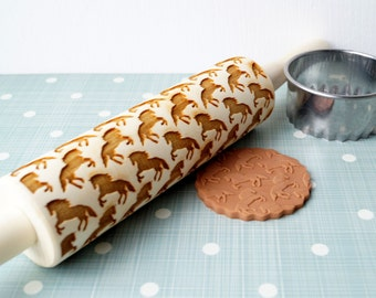 Embossing rolling pin, Horse design, Cookie decorating rolling pin