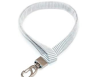 Seersucker Fabric Lanyard in Grey & White - Preppy ID Badge Holder Name Tag Keys