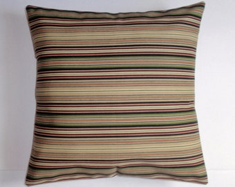 SUMMER SALE - Throw Pillow Cover, Soil Release in Stripe Pillow, Earthy Green Stripe Accent Pillow Cover, Handmade Striped Cushion Cover