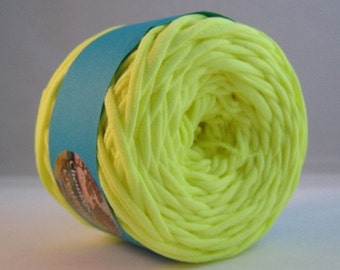 T Shirt Yarn Hand Dyed-Fluorescent Yellow 60 Yards
