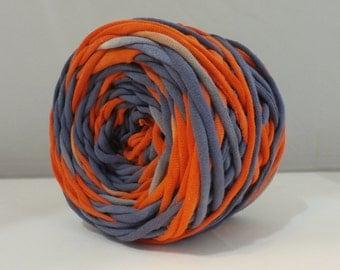 Hand Dyed T Shirt Yarn 60 Yards- Navy/Red Orange