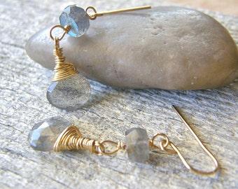 Simple Labradorite and Gold Earrings, Dainty Grey Stone Dangle Earrings