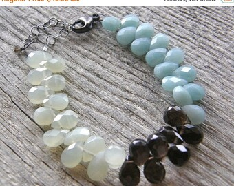 Summer Sale Colorblock Gemstone Bracelet, Aqua Blue Amazonite, Green New Jade and Brown Smokey Quartz Statement Bracelet