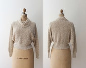 cream knit sweater / cropped sweater / Cowl Neck sweater