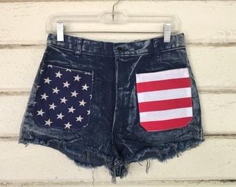 VINTAGE 1970s American flag denim shorts