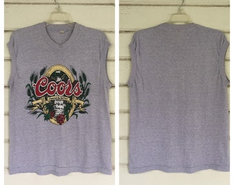VINTAGE 70s COORS beer t shirt tank top muscle grey