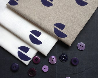 pod in Ink - screen printed fabric panel, linen or cotton