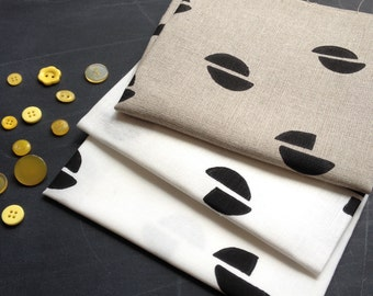 pod in black - screenprinted fabric panel, linen or cotton