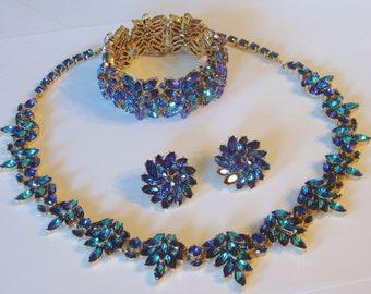 20% OFF SALE Trifari 60's Heliotrope Rhinestone Goldplate Parure Necklace Bracelet Earrings